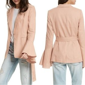 Free People // Flared Sleeve Linen Blazer In Rose